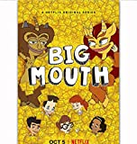 yhnjikl Big Mouth Season 2 TV Series Show Teenagers Comic Cartoon Poster Art Silk Light Canvas Home Room Decoracin de impresin de Pared 40X60Cm Sin Marco
