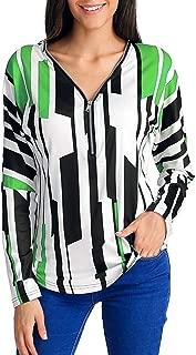 Womens Striped Long Sleeve Shirt V-Neck Zipper Tops Casual Blouse Pullover Sweatshirt
