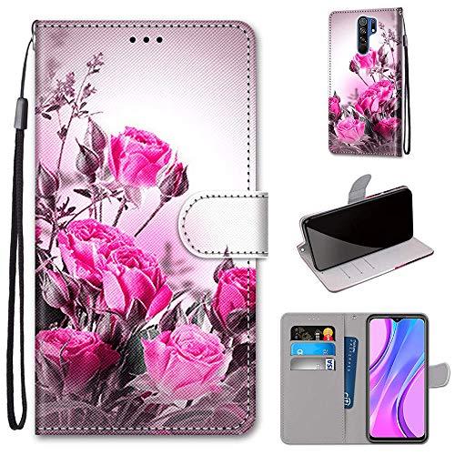 DICASI für Xiaomi Redmi 9 Leder Hülle Stoßfest Wallet Etui Magnet Schutzhülle mit Kreditkarten, Geldfächern & Standfunktion TPU Hülle für Xiaomi Redmi 9 Hülle (6,53
