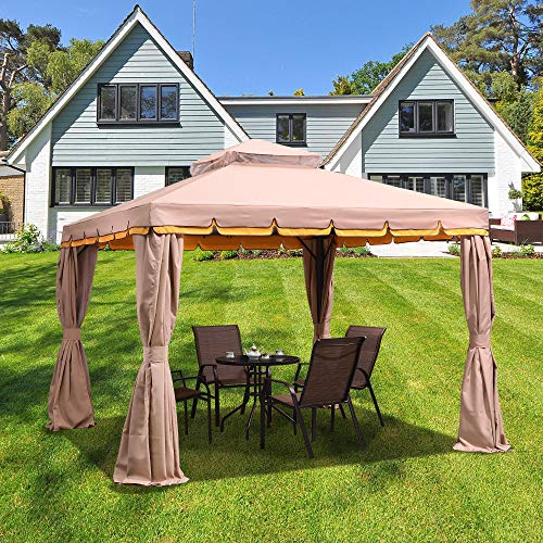 PURPLE LEAF 10' × 12' Outdoor Gazebo Garden Canopy Steel Frame Vented Soft Canopy, Double Square Tops with Privacy Curtain and Netting, Khaki