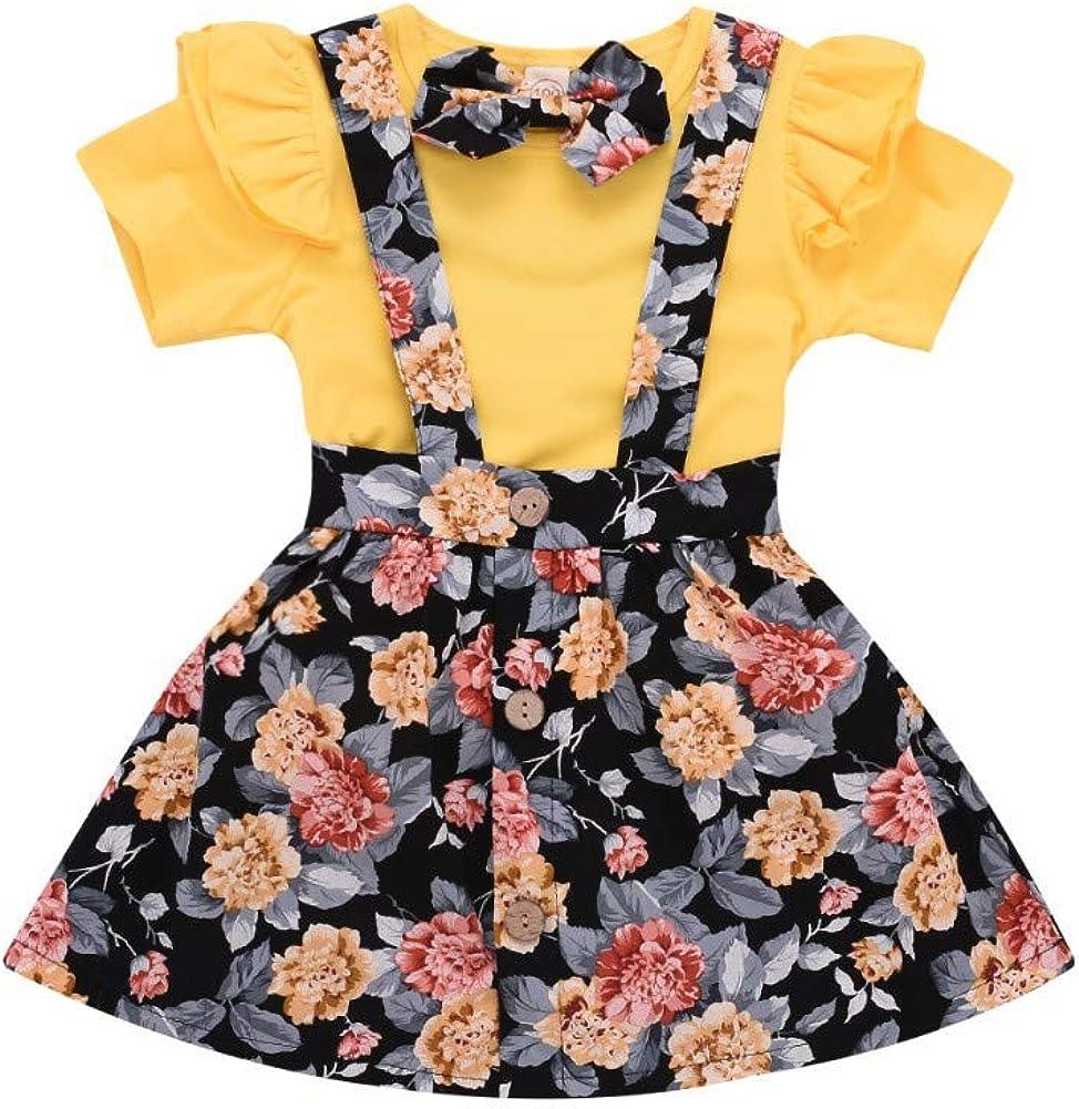 Weixinbuy Toddler Baby Girls Short Sleeve Crewneck T-Shirt Top + Floral Dress 2 Pcs Skirts Clothes Set