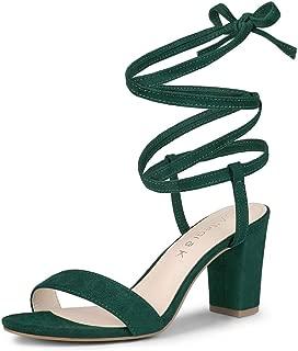 Allegra K Women's Lace Up Chunky Heels Sandals