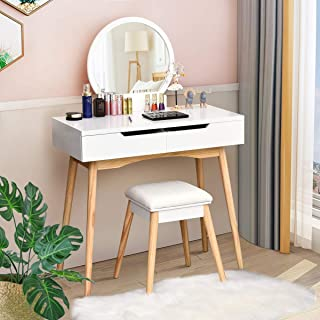 CHARMAID Vanity Table Set with Large Round Mirror and 2 Sliding Drawers, Makeup Table with Cushioned Stool and Solid Wood Legs, Modern Bedroom Dressing Table Set for Women Girls Kids (White)