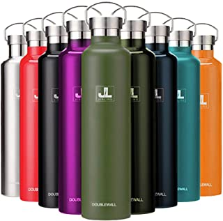 JINLING スポーツボトル 真空断熱 保冷水筒 ステンレス鋼304 魔法瓶 直飲み 0.5/0.6/0.75/1リットル