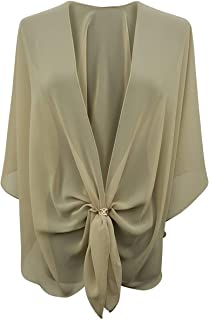 eXcaped Womens Evening Shawl Wrap Sheer Chiffon Cape Rose Gold Scarf Ring Set