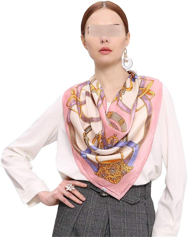Womens Fashion Neck Scarfs Spring and Autumn Winter Silk Large Scarf Scarf Satin Classic Chain Print Silk Scarf Decorative Shawl Female Hair Scarf Wrap Headscarf for Girls Ladies