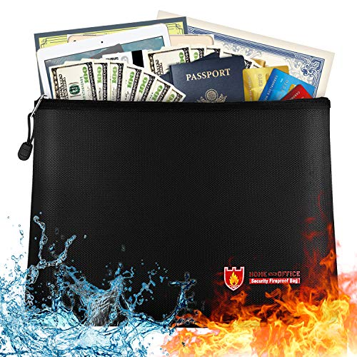 "Large Fireproof Document Bag - 13.7""x 9.8"" Water Resistant Fireproof Pouch, Fireproof Safe Storage Money Bag for A4 Document Holder,Cash,File,Tablet,Passport and Valuables"