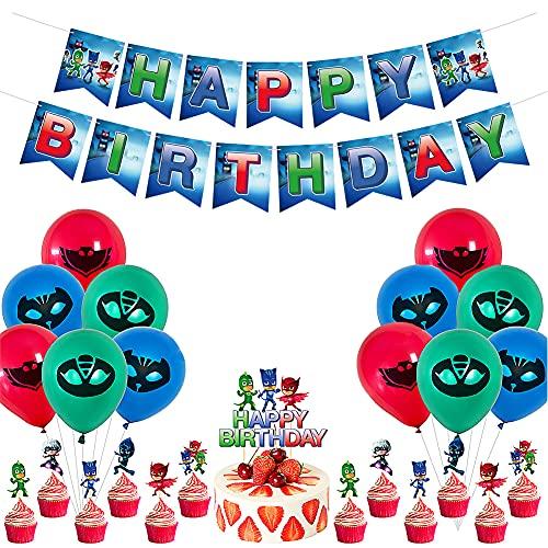 CYSJ PJ Masks Globos Pancarta de Feliz Cumpleaños Adornos para Pastel de Juegos para Niños Adultos Decoraciones de Fiesta de Cumpleaños Suministros Decoración Kids Gift
