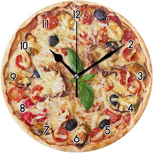 Delicious Pizza Orologio da Parete Decorativo Orologio da Parete Rotondo Silenzioso Orologio Creativo Non ticchettio per Bambini Soggiorno Camera da Letto Ufficio Negozio Cucina