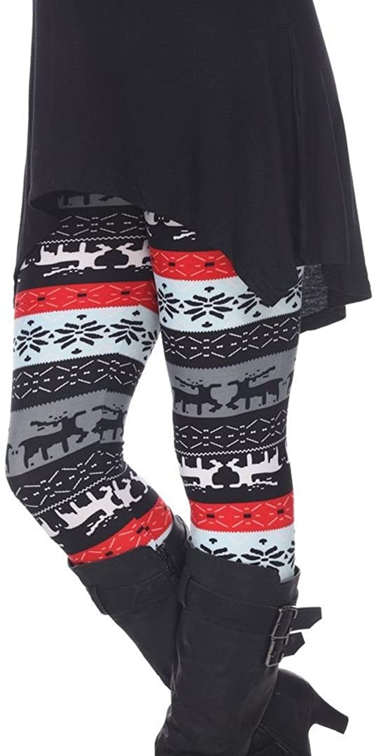 Woman's Plus Size Leggings with Deer and Snowflakes - Winter Wonderland Inspired Leggings