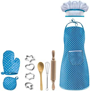 Kids Apron Set,Hamkaw Cooking Baking Chef Set with Apron,Chef Hat,Cooking Mitt,Other Utensils for Toddler Chef Career Role...