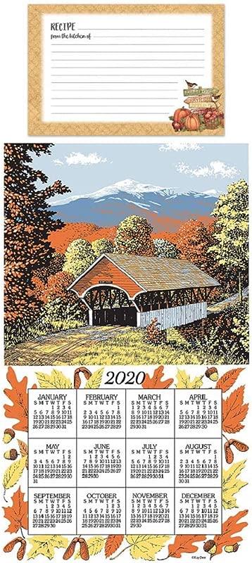 Kitchen 2020 Covered Bridges Calendar Towel Bundle With Autumn Harvest Recipe Cards