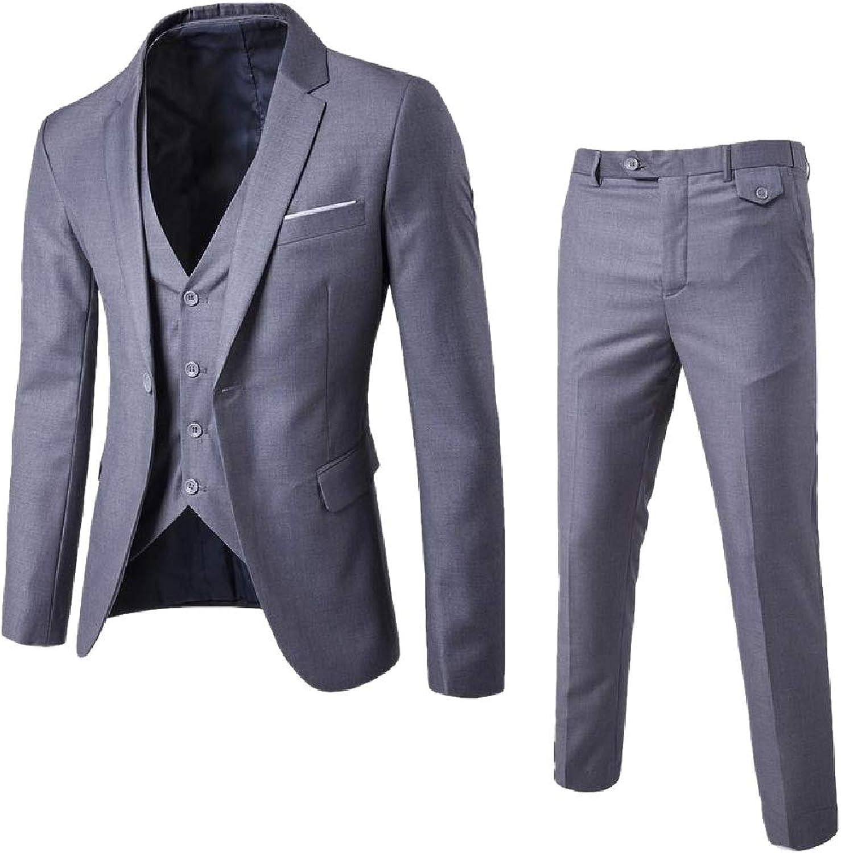 FieerMen Business 1 Button Plus Size Jacket Set 3Piece Simple Suits Jacket