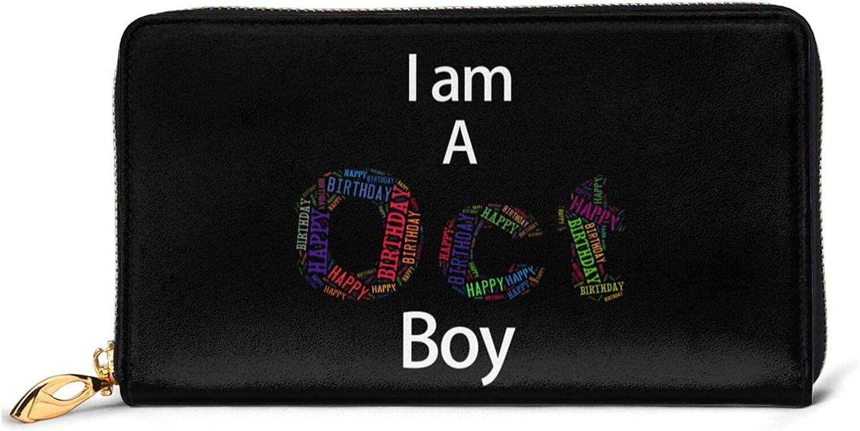 DJNGN I Am A October Boy Libra Scorpio Birthday Gift Billetera de Cuero con 12 Ranuras para Tarjetas Moda y personalización