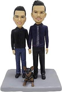 momento prezioso figurine bambole da collezione di nozze gay con torta figurine cane nuziale Topper figurine fratello rega...