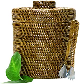 Artifacts Trading Company Rattan Ice Bucket with Tongs, Medium, 10