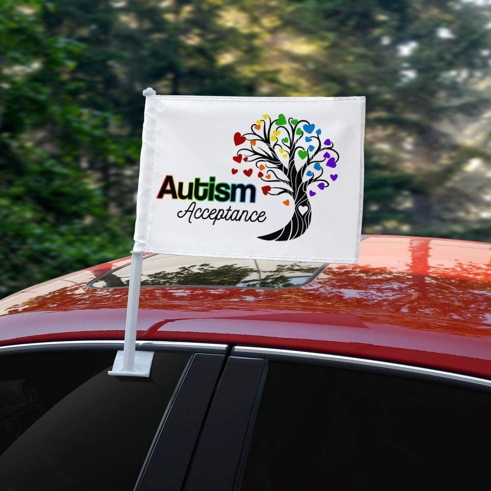 GRAPHICS /& MORE Autism Acceptance Tree of Life with Hearts Car Truck Flag with Window Clip On Pole Holder