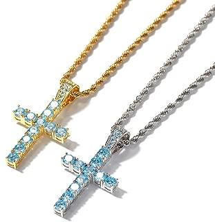 Hip Hop Collar con Colgante de Cruz de Diamantes Azules Cristal Azul Accesorios de Hip Hop para Hombre chapados en Oro (Azul Dorado, Azul Plateado), Collar
