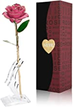 Gomyhom Rosa 24K, Rosa de Oro Chapada en Oro con Caja de Regalo para Madre para Amor en el Día de San Valentín para Aniversario para Amigos como Un Regalo de Cumpleaños (Rosa con Soporte)