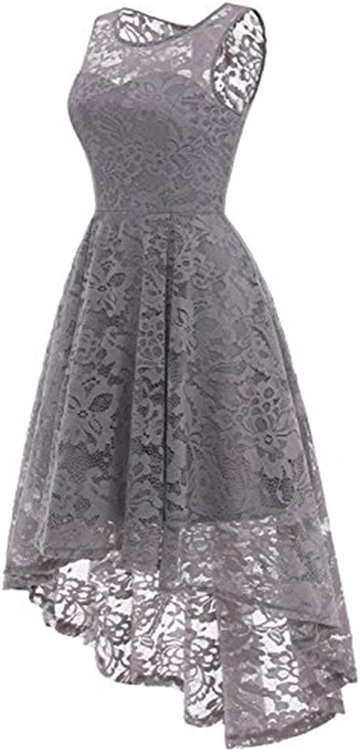 Aiyue Yishen Women's Vintage Floral Lace Sleeveless HiLo Cocktail Formal Swing Dress