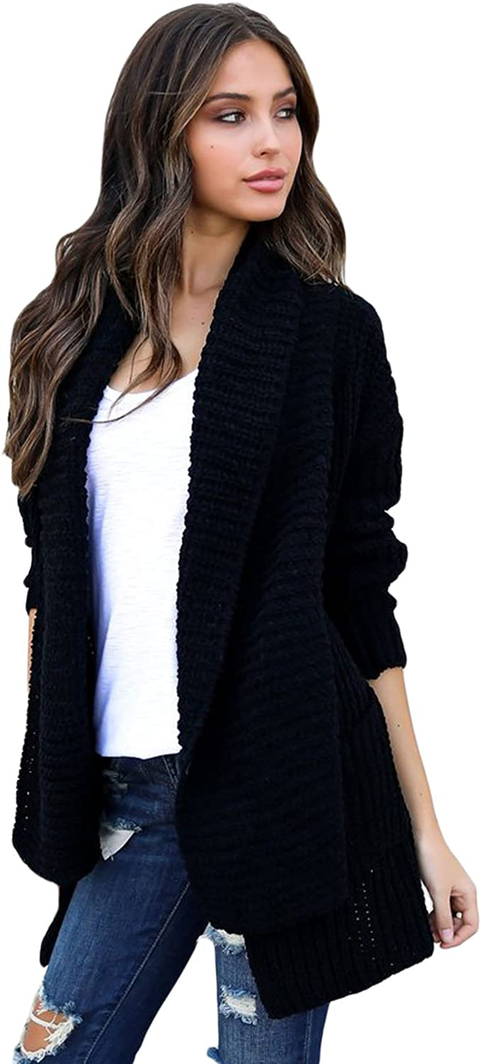 Elegant Women's Cardigan Sweater Pleated Neck Long Sleeve Pocket Large Size Women's Sweater Jacket Ladies' Tops (color   Black, Size   L)