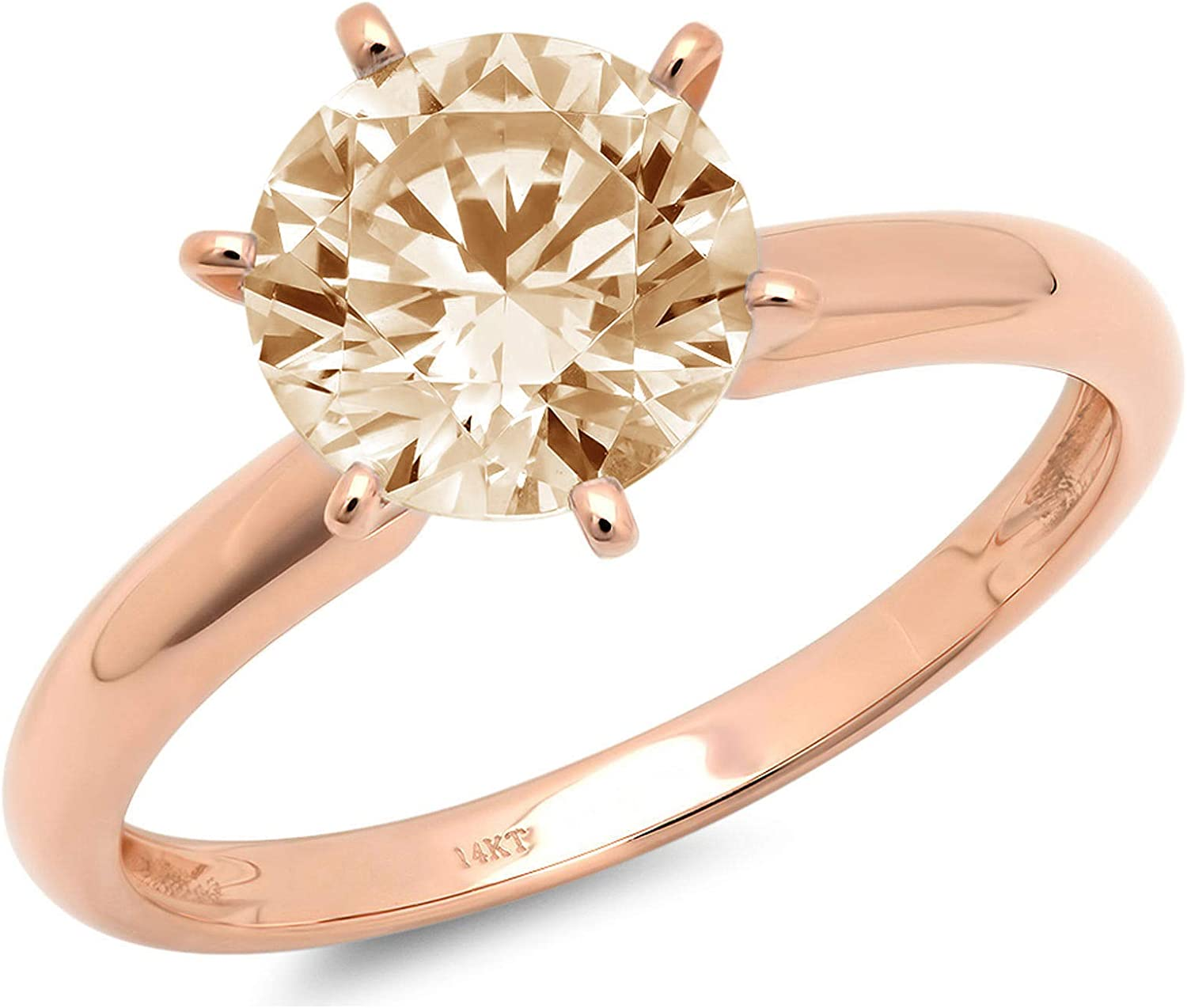 2.45 ct Round Cut Solitaire Simulated Yellow Moissanite CZ Excellent VVS1 6-prong Engagement Wedding Bridal Promise Anniversary Designer Ring Solid 18K Rose Gold for Women