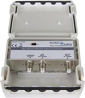 Stellar Labs 33-2230 UHF/VHF Signal Combiner, 2 Antenna/Single Feed, Weatherproof