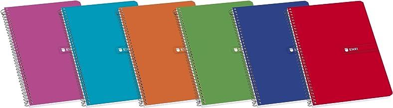 Enri 100430100 - Pack de 10 cuadernos espiral, tapa blanda, Fº