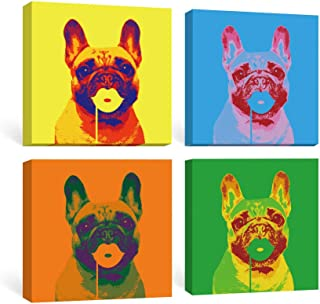 SUMGAR Wall Art Bedroom Pop Dog Canvas Paintings Dorm Decor Blue Animal Prints Yellow Puppy Pictures Colorful Doggy Framed Artwork Set French Bulldog Gifts for Teens 4 Panel,12x12 inch