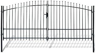Tidyard Outdoor Garden Double Arbor Door Fence Gate with 3 Keys, Spear Top, for Garden, Patio, Terrace, Pasture Powder-Coated Steel 13' x 7'