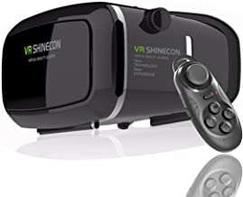 VR SHINECON 3D Virtual Reality Goggles Headset with Controller, 3D Viewing Glasses with Pupil Focal Distance Adjustable Suitable for Google/iPhone/Samsung Note/LG/Huawei/HTC/Moto Screen …