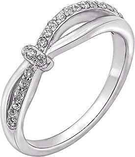 Sterling Silver Swarovski Zirconia Unique Knot Criss Cross Ring