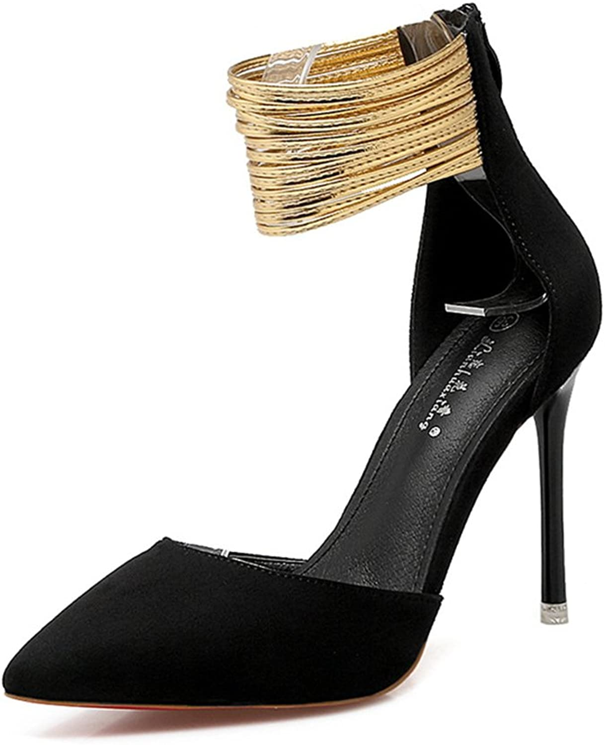 BININBOX Women's Elegant Metal Foot Ring Pointed Stiletto High Heels