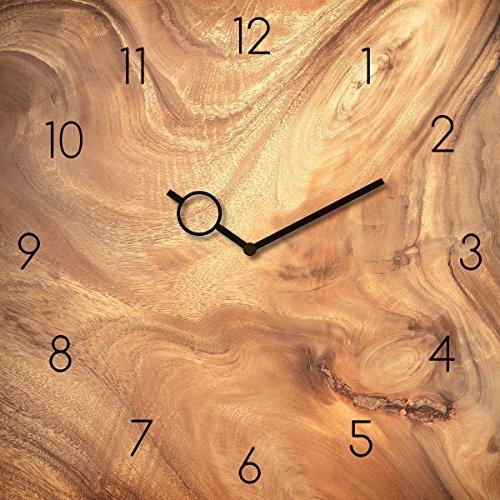 Wanduhr aus Glas, Wooden Texture, Holzoptik braun, 30x30 cm von Eurographics