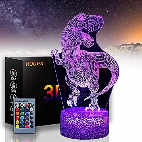 Tyrannosaurus Dinosaur 3D Lámparas de ilusión óptica LED Luz de noche Niñas Luz de noche con control remoto, lámpara de cabecera, regalos de cumpleaños para niños y adultos