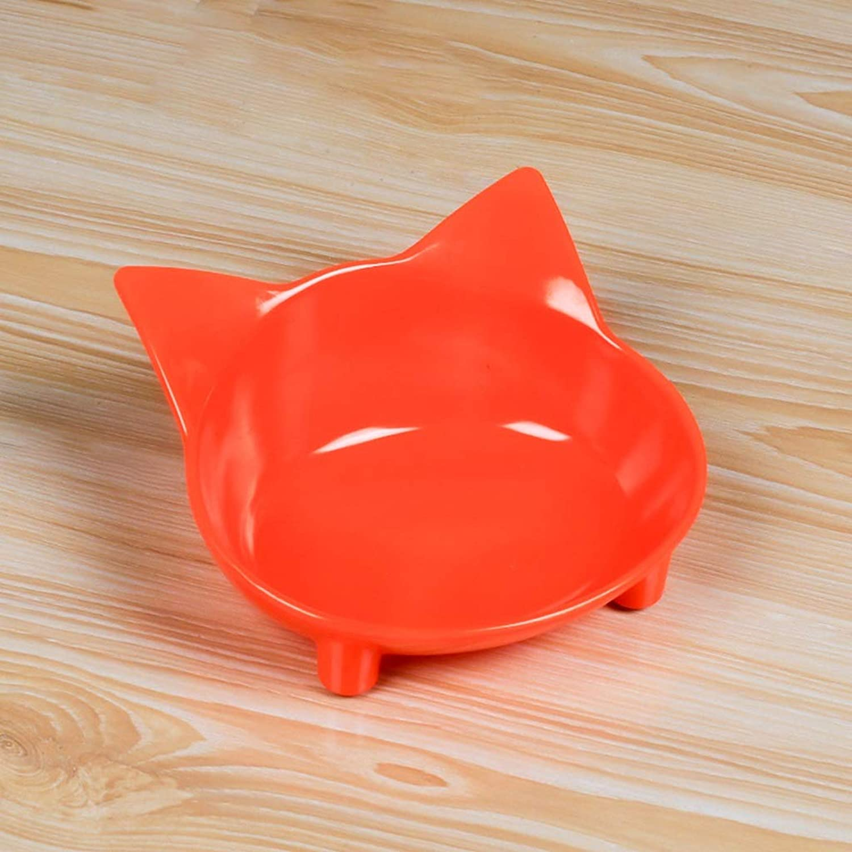 CQ Pet Supplies Cat Bowl Cat Food Bowl Cute Cat Ears Bowl Cat Supplies (color   orange)