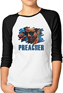CEDAEI Preacher Fashion Middle Sleeve Shoulder T-Shirts Black for Women Bottoming Shirt