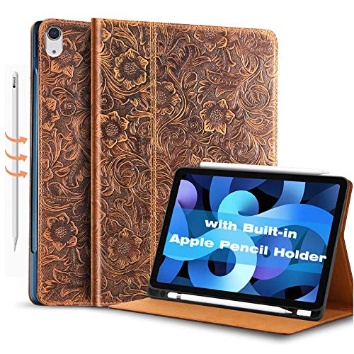 Gexmil for Leather iPad Air4 10.9 inch 2020 Case, with Built-in Apple Pencil Holder,Cowhide Folio Cover for iPad Air4th Generation Genuine Leather Cover,(Pattern-Brown+Pencil Holder)