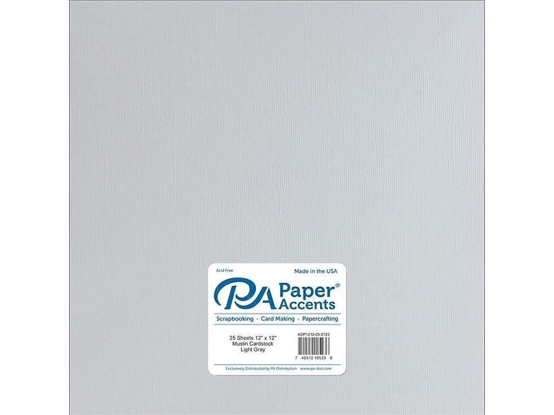 Paper Accents Cardstock 73 lb Light Gray Muslin, 12