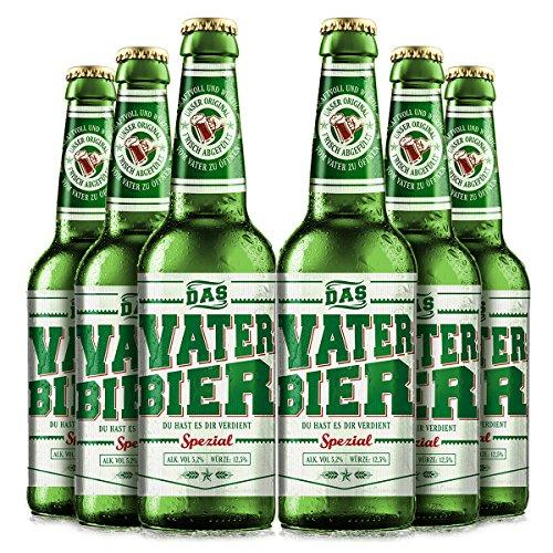 Vaterbier Spezial (6 x 0,33 l), lustiges Biergeschenk Vater, vatertagsgeschenk