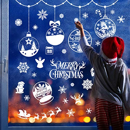 VOSAREA Weihnachten Fenstersticker Fensteraufkleber PVC Fensterbilder Weihnachten DIY Entfernbarer Wandaufkleber Weihnachten Fensterdeko Schneeflocken Aufkleber Weihnachtsdeko