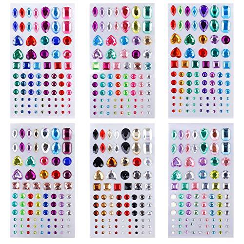 Adhesivo de Diamantes de Imitación Gemas de Cristal Pegajoso para Niños Artesanía Bricolaje Joyas Bling Multicolor para el Rostro, Maquillaje, Uñas, Adornos de Scrapbooking, 6 hojas 486 piezas