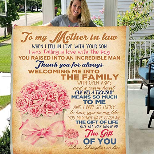 to My Mother in Law Sherpa Fleece Blanket Birthday Present Rose (X-Large 80 X 60 INCH)
