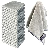 Silver Shield 12 Pack Microfiber Cleaning Cloths - 12' x 12' Thick 300 GSM - Super Absorbent Towels for Hospitals, Care Centers, Detailing, Windows, Chrome, Hard Surfaces, Kitchen & Bath (Grey, 12)