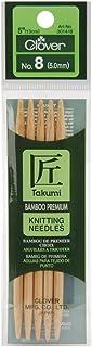 Clover 3014-8 Takumi Aiguilles à Tricoter Double Pointe en Bambou 12,7 cm Taille 8/5 mm, Transparent