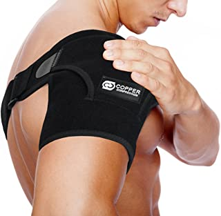 شانه بازسازی فشرده سازی مس - بالاترین مقاومت محوری کمر مسطح برس. قابل تنظیم آستین قابل تنظیم مردان زنان. تسکین ضربات شانه، تاندونیت (یک اندازه منظم)