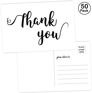 50 Thank You Postcards-Blank Thank You Note Card for Wedding, Bridesmaid, Bridal or Baby Shower, Teachers, Business a Great Way just to say Thanks! 4 x 6 inch