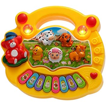 SUPER TOY Animal Sound Piano Musical Toy for Kids (Multi-Color) (Without Battery)