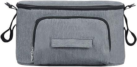 Bolsa multifunción para bebé, bolsa de almacenamiento de cochecito de bebé, bolsa de pañales, colgador de cochecito colgante, impermeable, universal (gris)