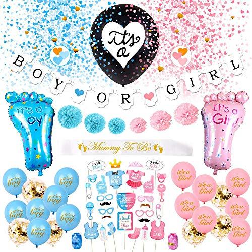 Revelar la decoración de fiesta de género 65 piezas kit de fiesta de mantas para la ducha del bebé, suministros de fiesta de cumpleaños, con pancartas y globos